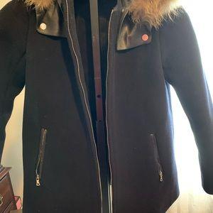 Sandro hoodie wool coat small